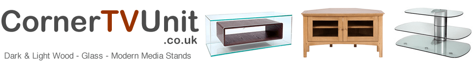Corner TV Unit Media Furniture Dark Light Wood or Modern Header