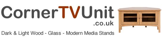 Small Header Logo Corner TV Unit Media Furniture Dark Light Wood or Modern