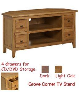 buy popular af9b5 f1bb7 Light Oak & Dark Wood Corner TV Stands Fully Assembled TV Units