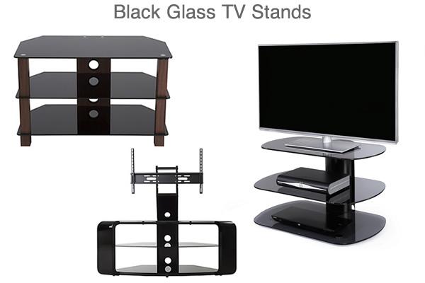 Black Glass TV Stands under £100 Curved Corner Media Units