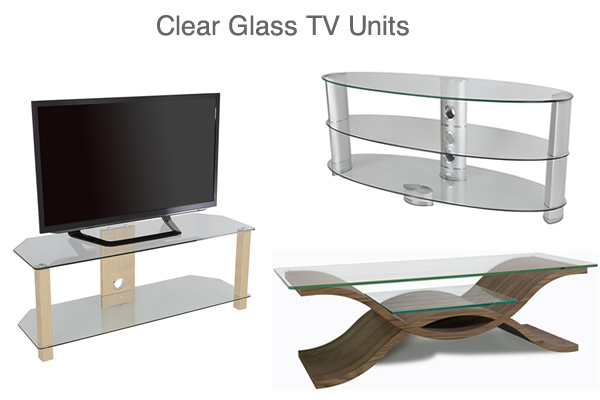 Clear Glass TV Units with 2 or 3 Shelves Curved Corner and Tall TV Stands