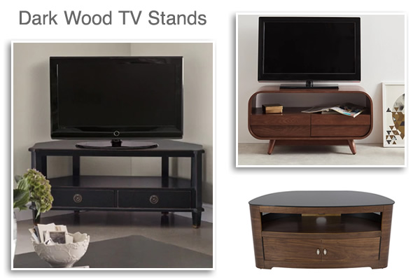 Dark Wood Media Units Walnut Brown Corner TV Stands