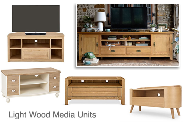 Light Wood Oak Media Cabinets Corner TV Units and Stands