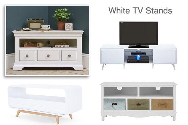 White TV Stands Ivory Cream Gloss Painted Oak Pine TV Units