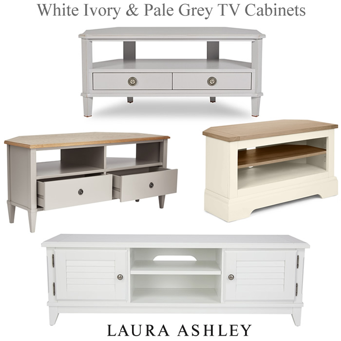 Laura Ashley white corner TV units ivory pale grey media cabinets